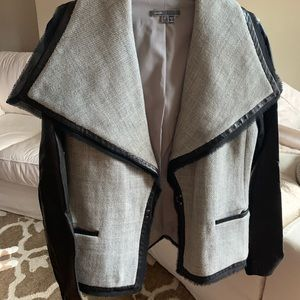 Vince tweed and leather blazer